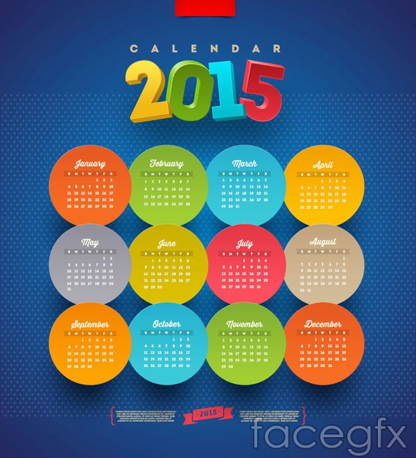 Round stickers calendars vector