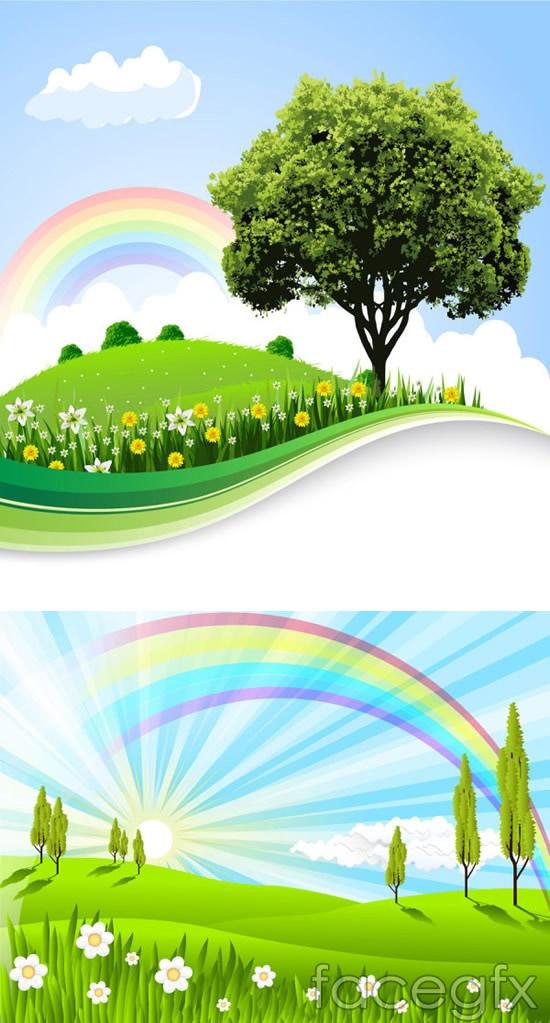Fields of Rainbow landscape vector