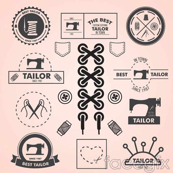 Sewing theme tab vector