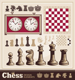 Elements of vintage chess vector