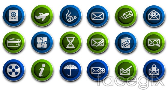 Mail topic icons vector