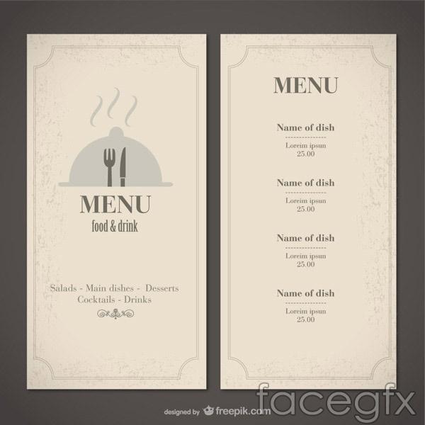 Western minimalist menu vector