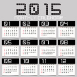 2015 calendar of black and white personalities vector