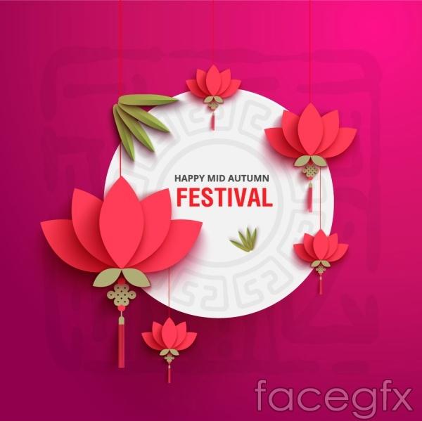 Festival three-dimensional flowers vector
