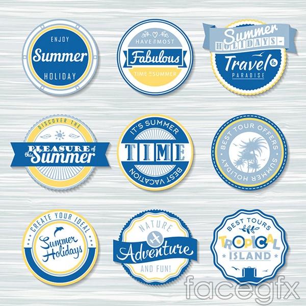 Summer round label vector