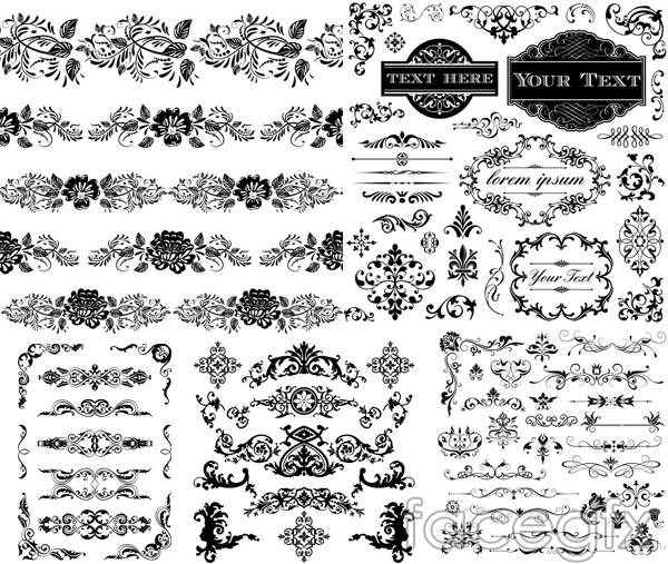 Black and white border 3 vector