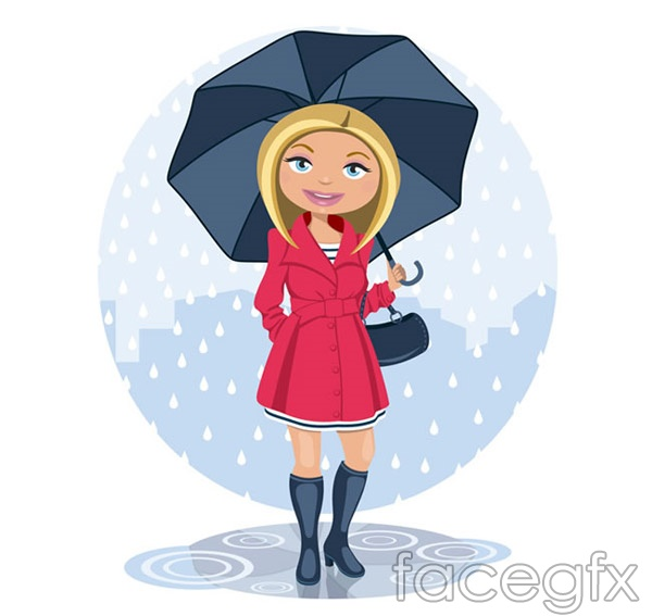 Blonde woman in the rain vector