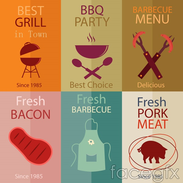Flat Grill poster vector