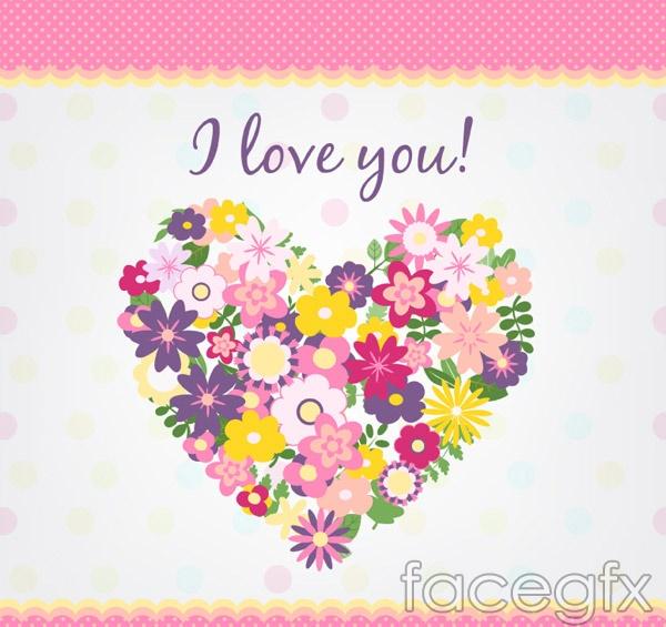 Floral love card vector