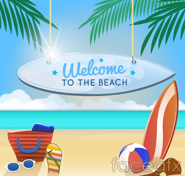Summer beach holiday posters vector