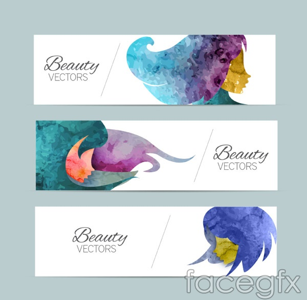 Woman's head banner vector