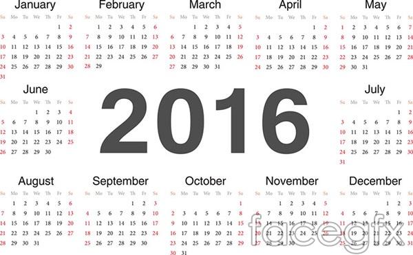 2016 calendar design vector