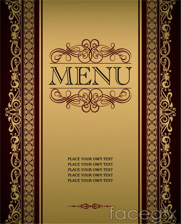 Golden lace menu vector