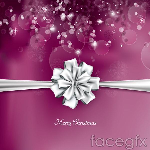 Ribbon flower Christmas cards vector