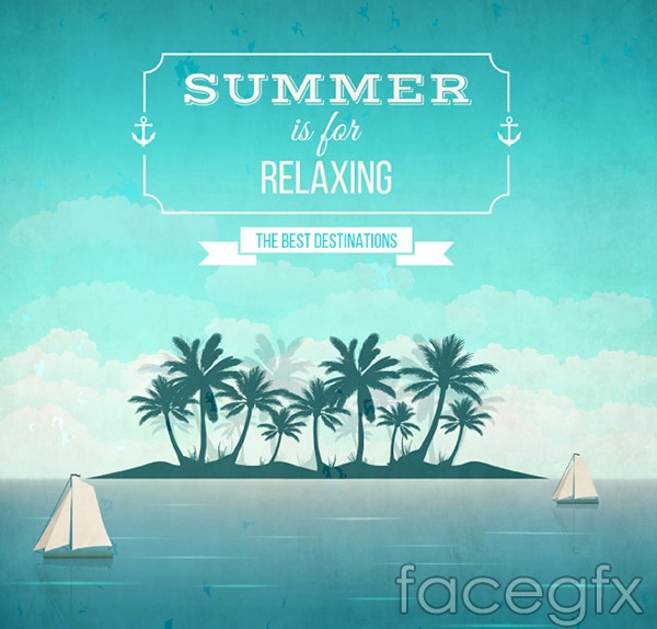 Summer resort Island poster vector