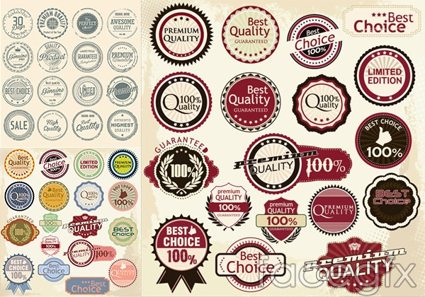 Vintage high quality promotional labels vector
