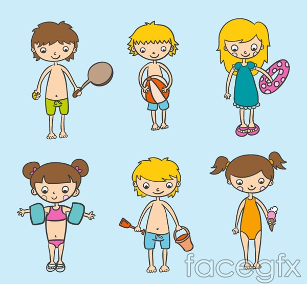 Beach kids designs vector
