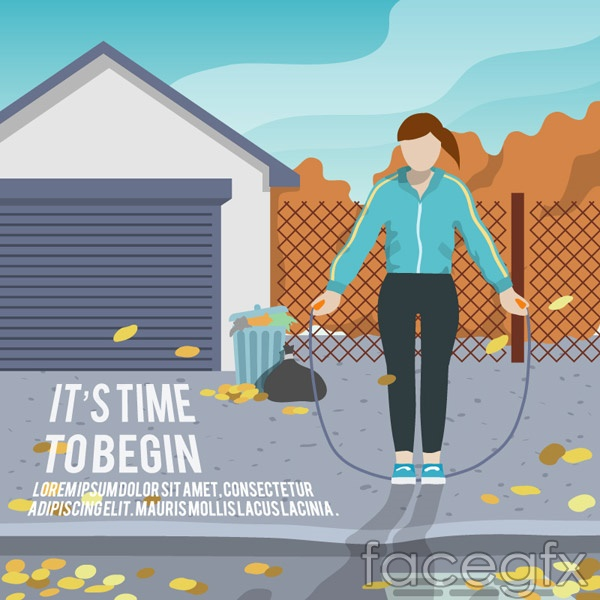 Jump rope fitness girls vector