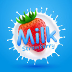 Cream Strawberry Design vector