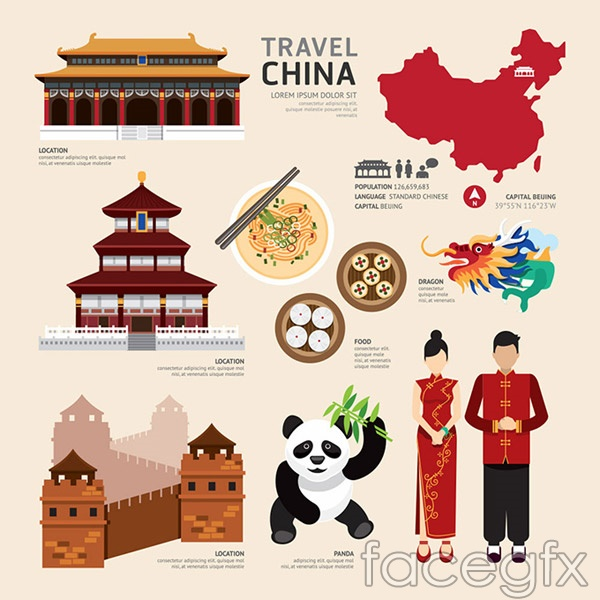 Chinese cultural elements vector