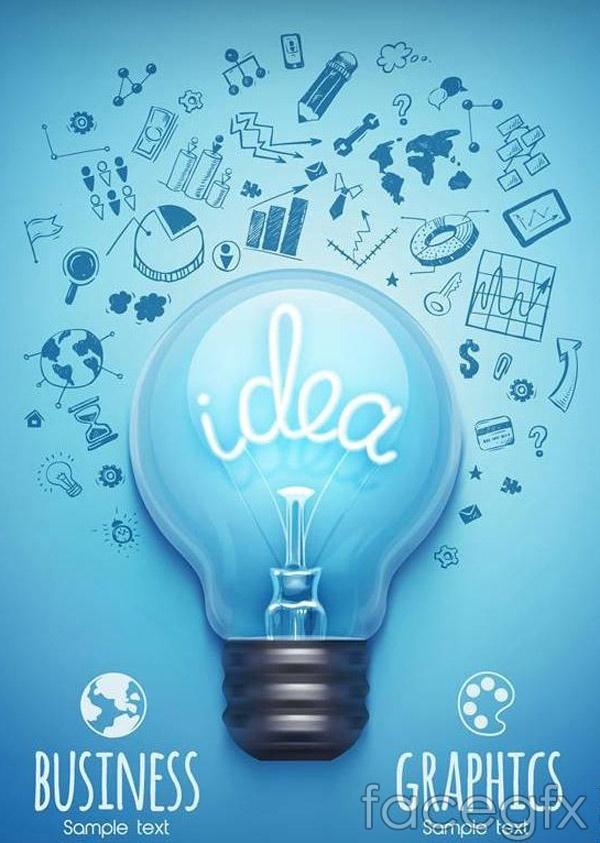Creative idea light bulb vector