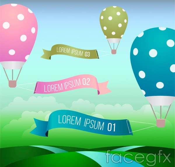 Hot-air balloon banner vector