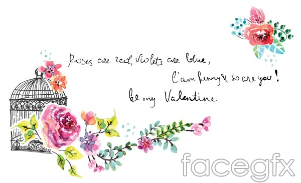 Watercolor flower invitations vector