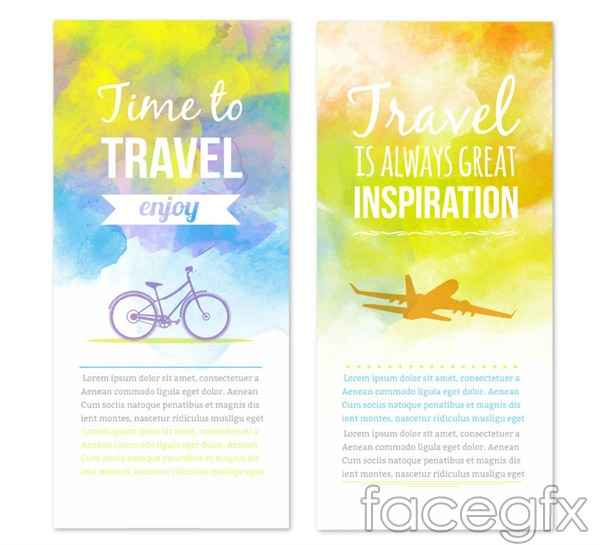 Water painting travel banne vector