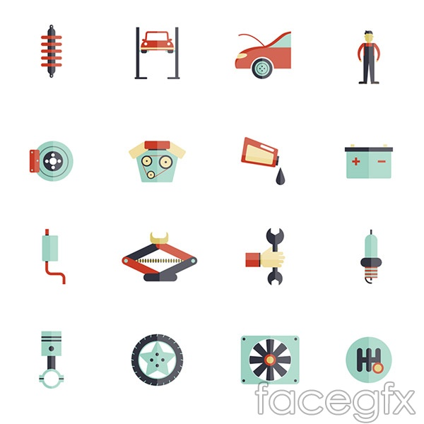 Car parts accessories vector