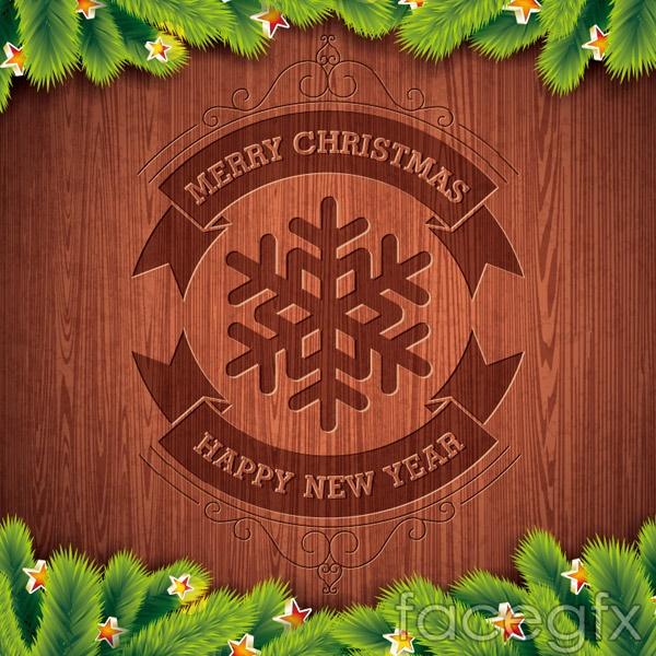 Christmas snowflakes pine brand vector
