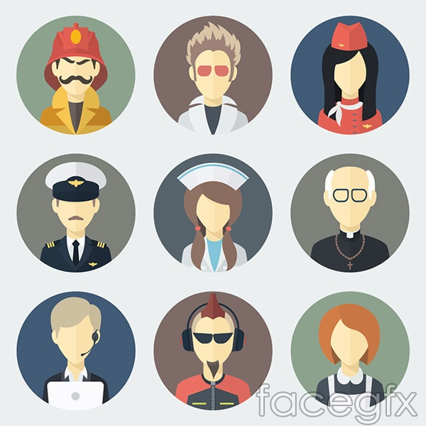 Flat job figures vector