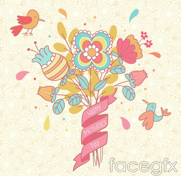 Mother's day flower cards vector