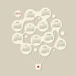 2015 hot air balloon calendar vector