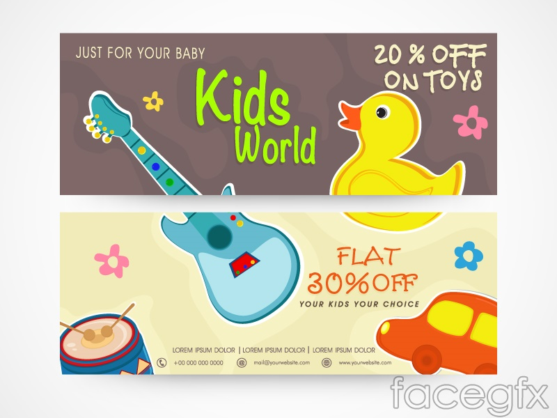 2 children's products promotion banner vector diagram