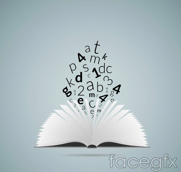 Books and letters vector