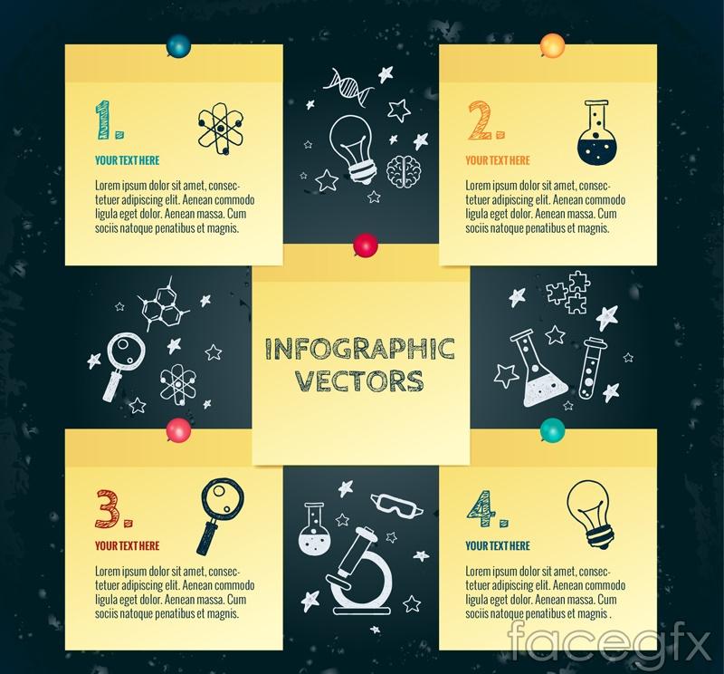 Note paper scientific research information vector diagrams