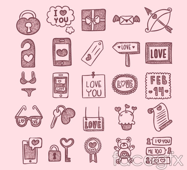 Valentine's day hand-painted icons vector