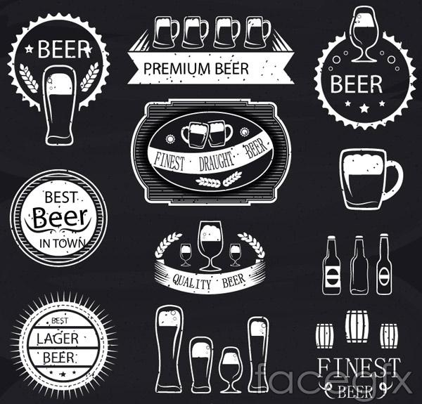 White beer label vector
