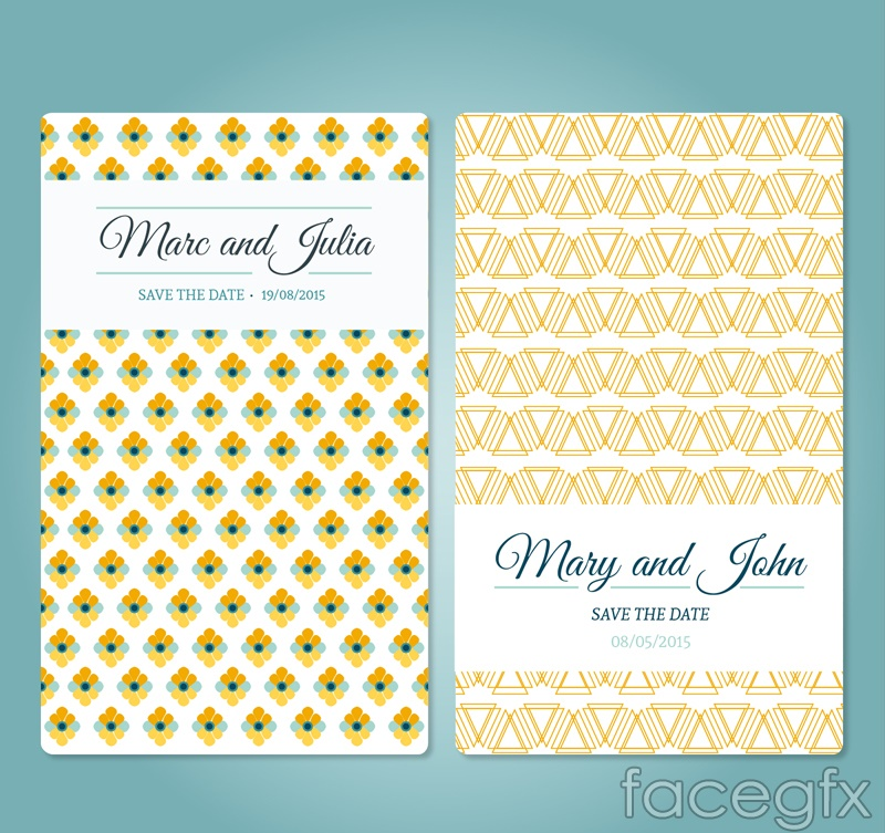 2 pattern wedding invitation card vector
