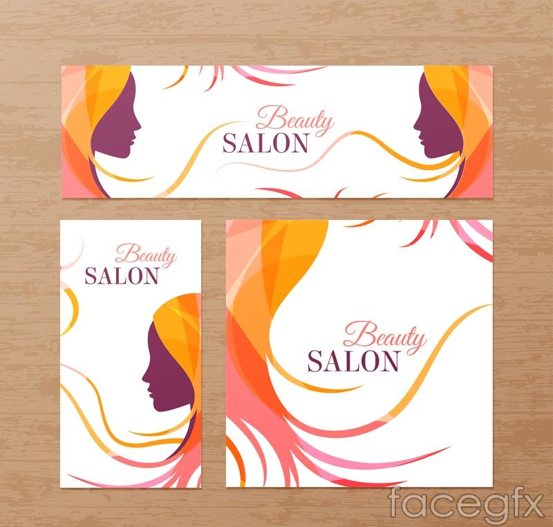 3 beauty salons card design vector graph