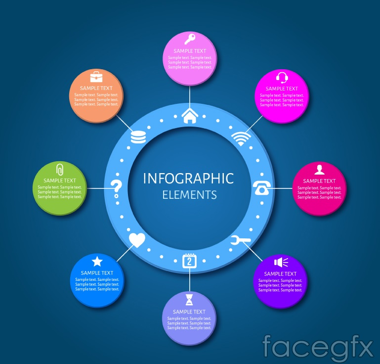 Colored circle business information maps vector