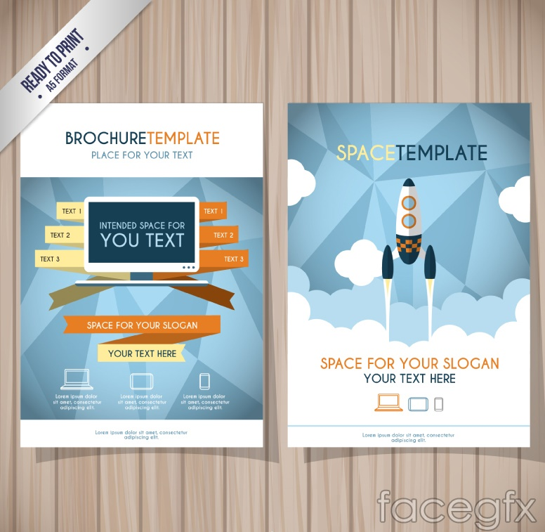 Creative rocket business flyer vector graphics