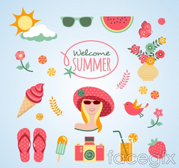 Fresh summer elements vector