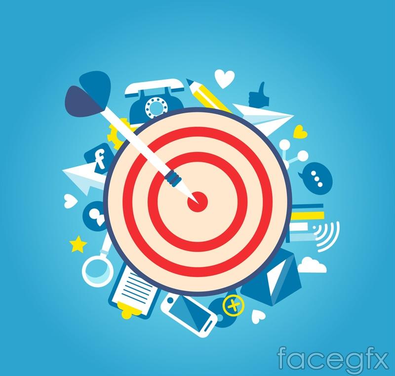 Hit the target darts vector