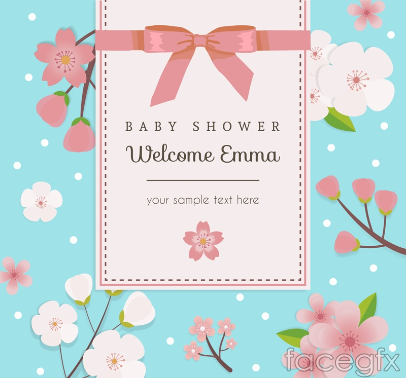 Pink cherry blossom baby party poster vector graphics