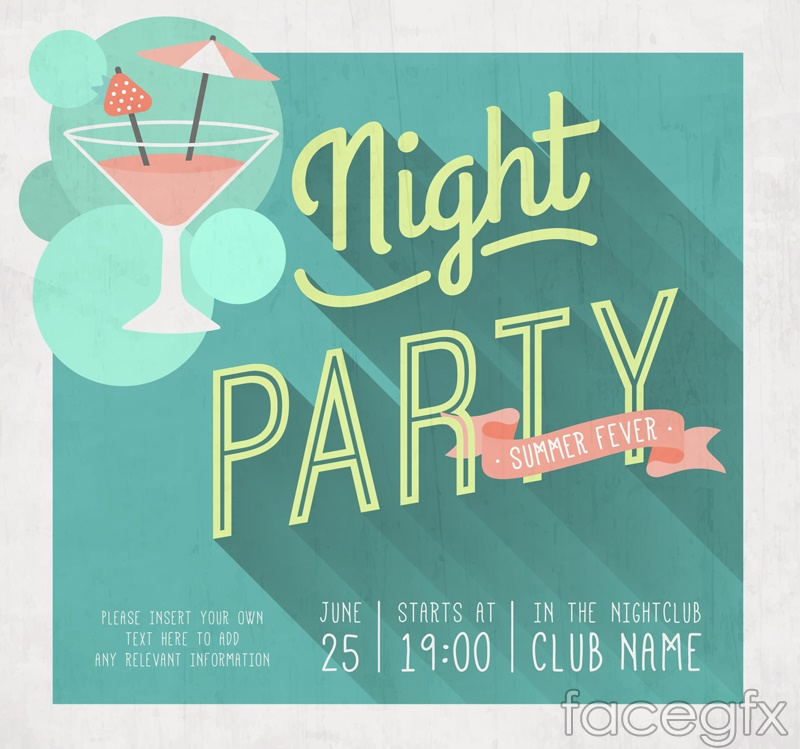 Purple cocktail party poster vector