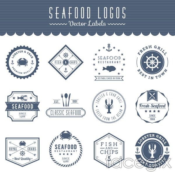 Sea food labels vector