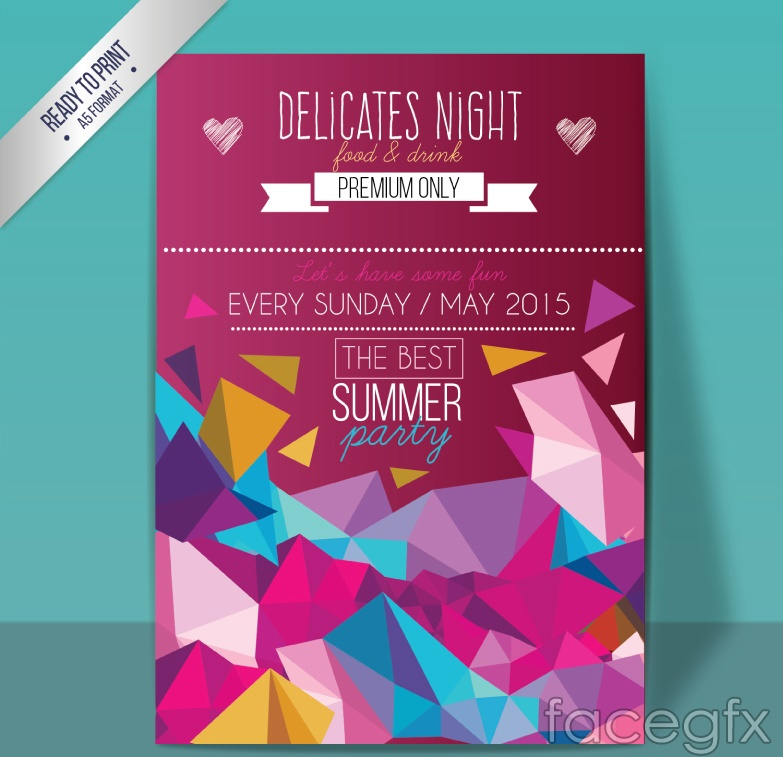 Summer Food party flyer vector