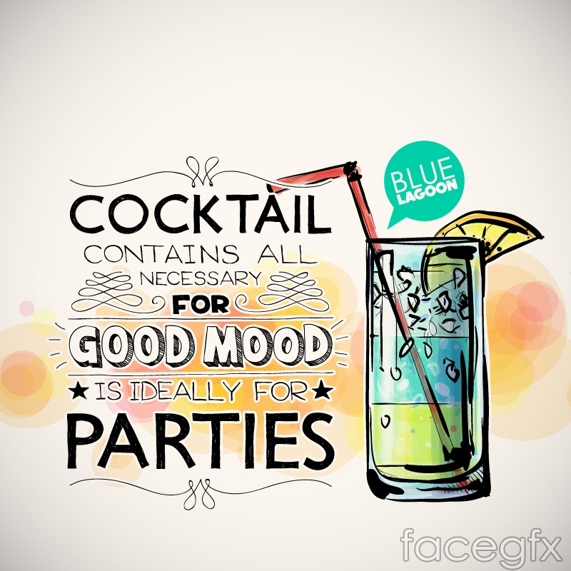 Hand-painted cocktail party poster vector graphics