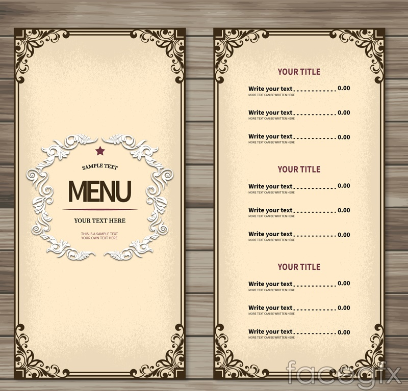 Simple restaurant menu design vector graph | Free download